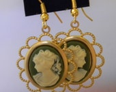 Vintage Style Cameo Lady Victorian  Cabochon Earrings