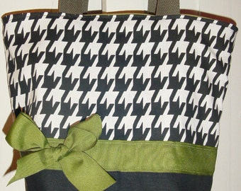 Classic Black & White houndstooth OLIVE BAG  Purse Tote BAG or Diaperbag