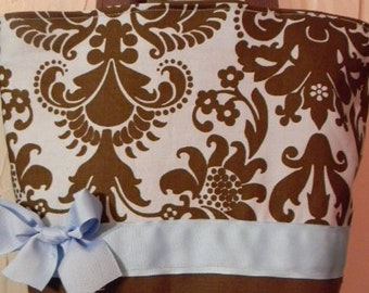 Classic Brown & Blue Damask Shabby Chandelier BAG Purse Tote BAG or Diaperbag
