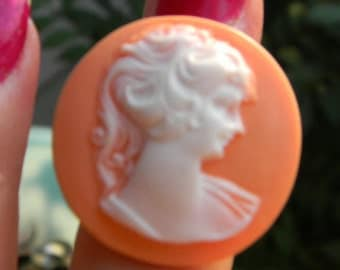 Peach - Melon Vintage Style Cameo Cabochon Marie Antoinette French  Adjustable Ring