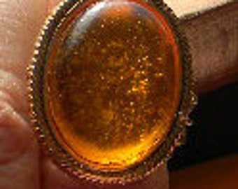 Queen's Amber - Orange or Pink Renaissance Medieval Cabochon Gemstone adjustable ring