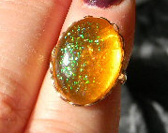 Queen's Orange Glittery - Amber Renaissance Medieval Cabochon Gemstone adjustable rings