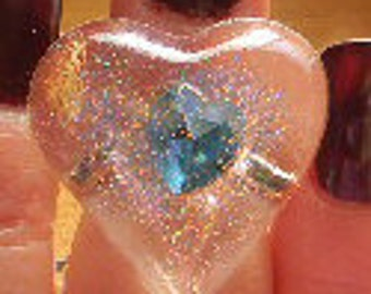 Funky Resin Suspended Heart Jewel Glitter Rings -Cabocohon Adjustable Ring