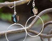 Jet Black Swarovski Crystal Bead on Silver Circle Hoop Earrings