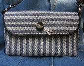 Purse, clutch, hand woven, blue, gray, white