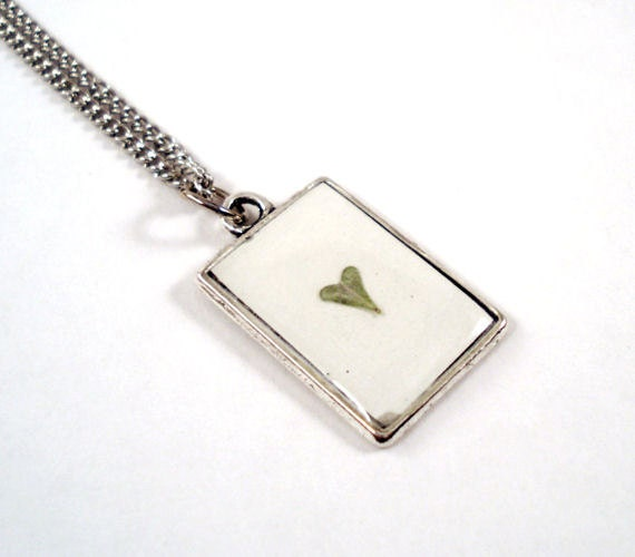 RESERVED for Dina - Mother's Day Heart Real Leaf Necklace - Epoxy Resin Pendant - gift for nature lovers