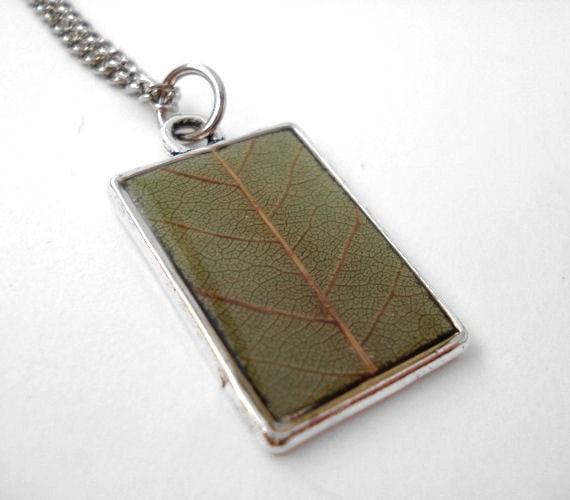 Pressed Leaf Necklace - Preserved Walnut Leaf - Handmade flower jewelry