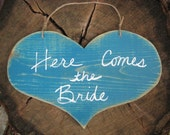 Here Comes the Bride Sign: Wooden, Heart Shape & Colorful