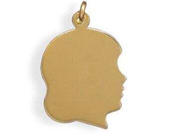 14K  20K  Gold Filled ENGRAVABLE Girl's Silhouette Charm Pendant