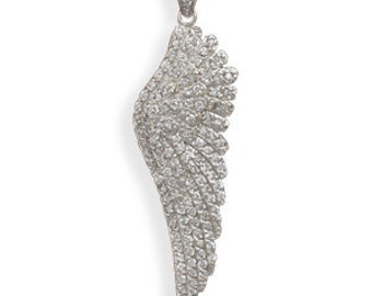 Sterling Silver Rhodium Plated CZ Angel Wing Pendant