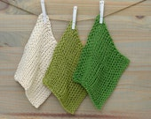 Organic Hand Knit Washcloths for Baby-kermit green, lima bean green, and ivory 8x8inches
