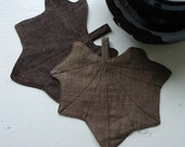 Leaf Linen Coasters mixed colours (walnut and chocolate) autumn inspiration