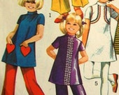 """Vintage 1970s Simplicity Girls' Mini Dress and Bell-Bottom Pants 9535 Size 6 (25"""" Chest)"""