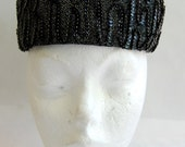 Vintage 1960s Amy of New York Black Sequin Pillbox Hat Excellent Condition