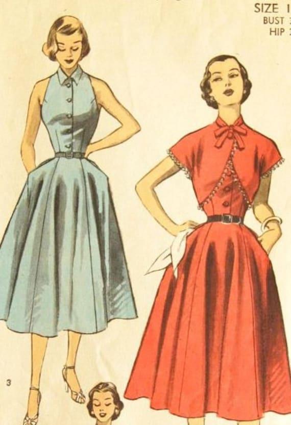 "Vintage 1950s Advance Misses' Women's Halter Look Dress Bolero Jacket 6117 Size 14 (32"" Bust)"