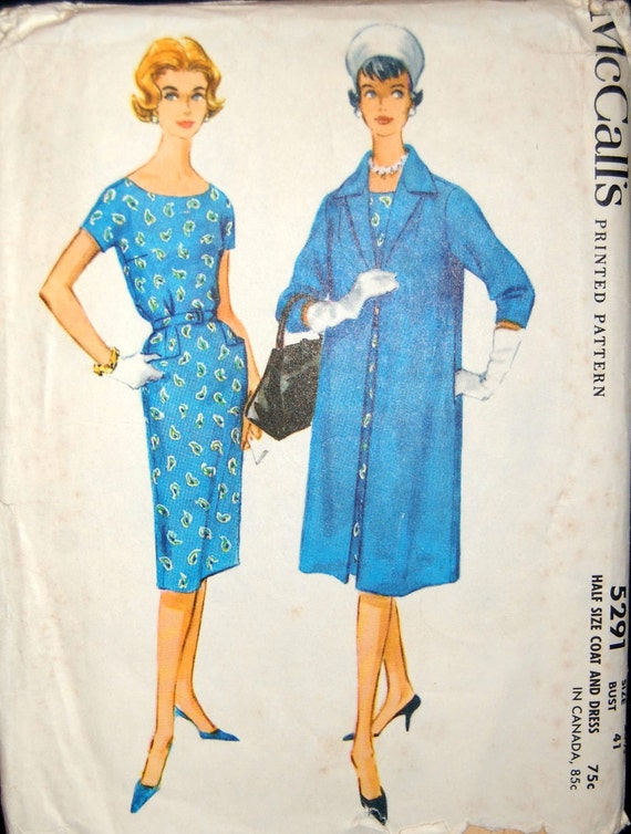 "Vintage 1959 McCall's Misses' Women's Plus Dress and Coat Pattern 5291 Size 20 1/2 (41"" Bust)"
