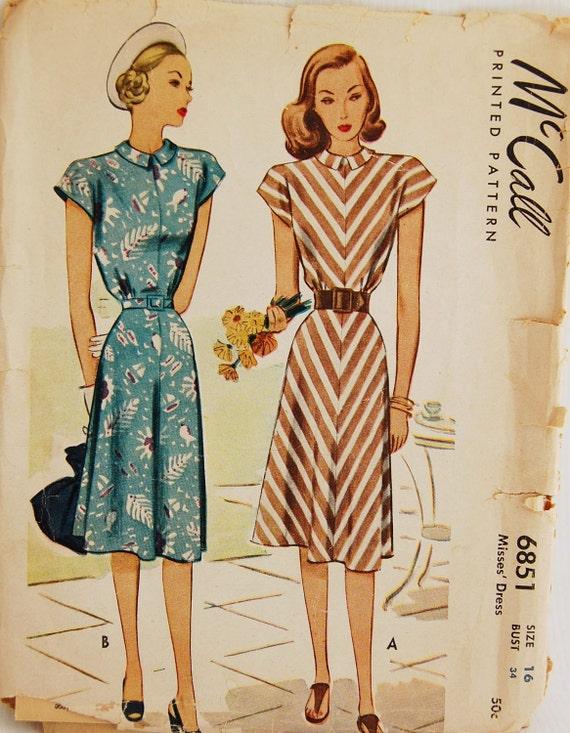 "Vintage 1947 McCall Misses' Women's Dress Pattern 6851 Size 16 (34"" Bust)"