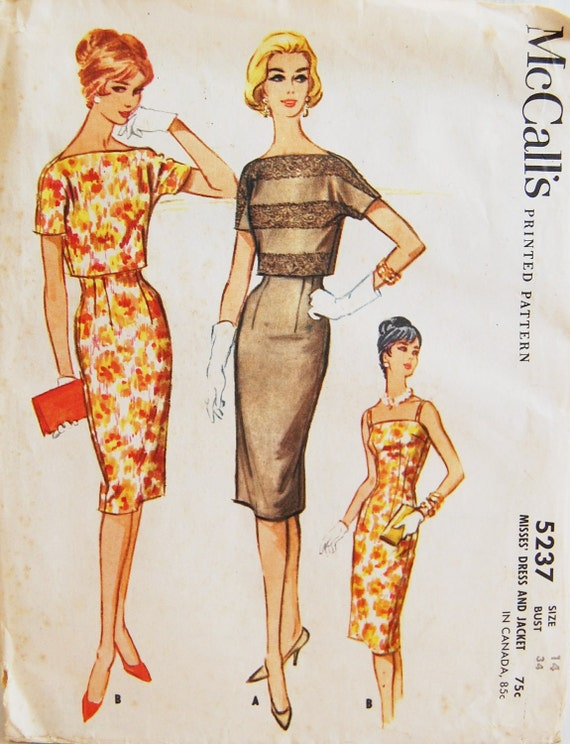 """Vintage 1959 McCall's Misses' Wiggle Dress and Jacket Pattern 5237 Size 14 (34"""" Bust) UNCUT"""