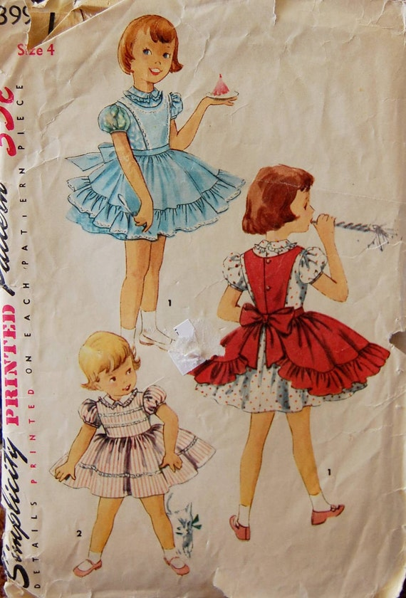 "Vintage 1950s Simplicity Girls' Dress and Apron Pattern 1399 Size 4 (23"" Chest)"