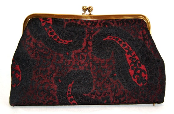 Vintage 1950s or 60s Koret Clutch Black and Burgundy Paisley Embroidery