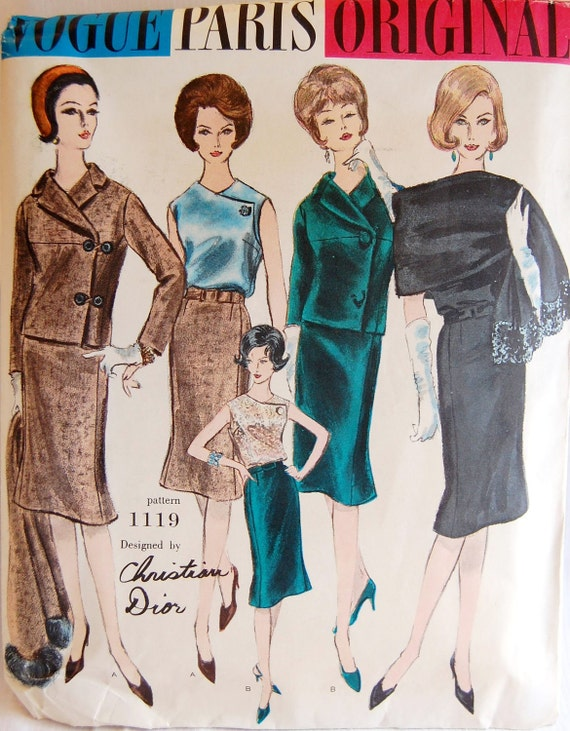 "Vintage 1960 Vogue Paris Original Christian Dior Suit, Blouse, and Scarf Pattern 1119 Size 14 (34"" Bust) UNCUT"