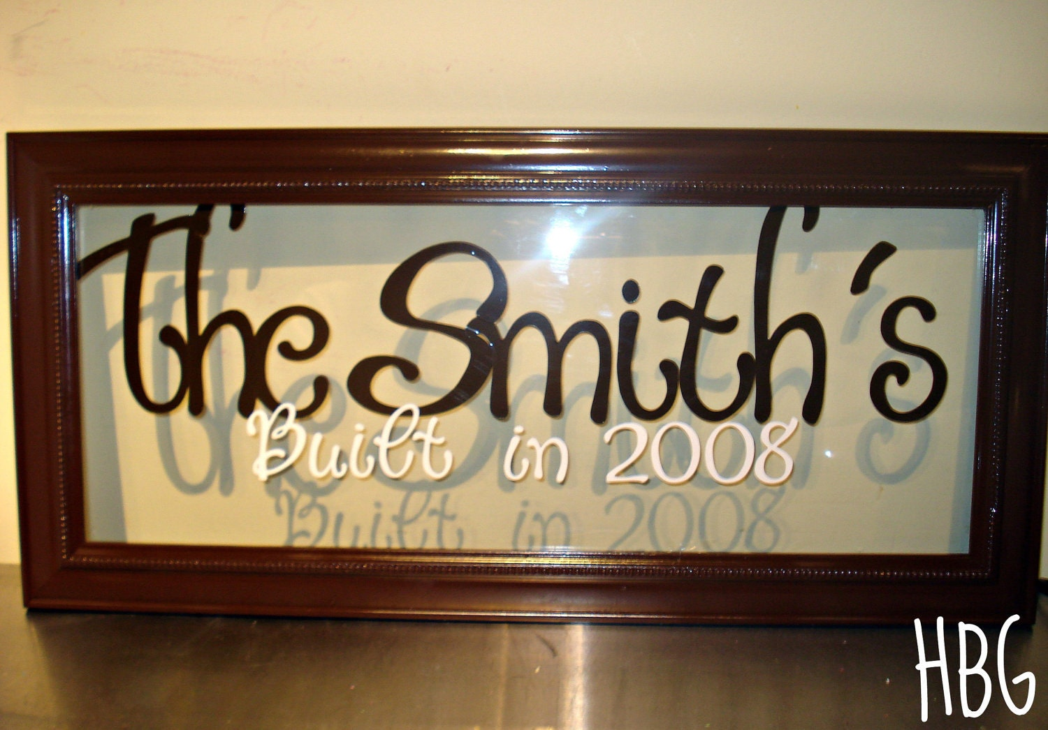 items similar to personalized last name frame glass wall