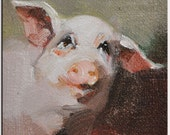 """Photo Develop From Original oil painting """"Happy pig"""" Thomas sign Open edition"""