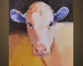 Western Cow portrait Original Oil Panel Painting 5x7