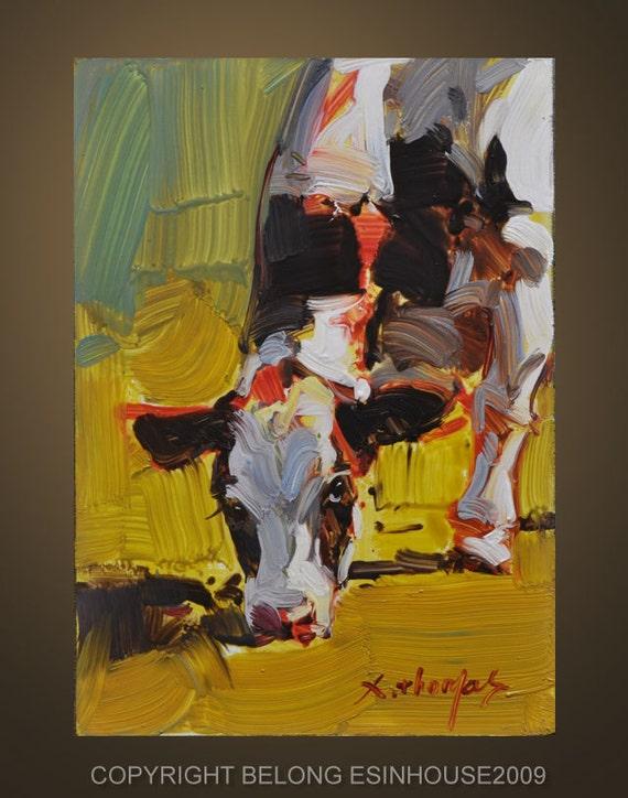 Western Cow portrait Original Oil Panel Painting 5x7