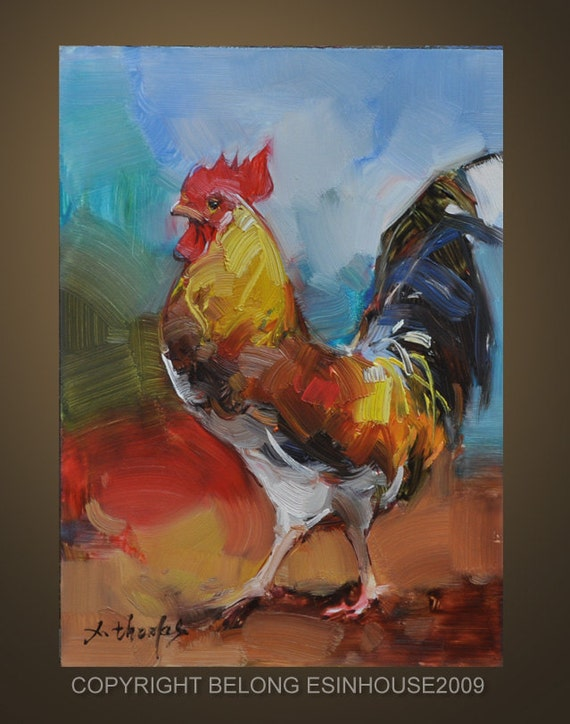 Oil Painting Rooster Art Chicken Hen Barn Cock 5X7