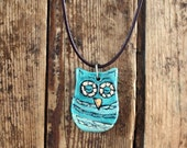 owl necklace -  clay sculpture pendant  one of a kind with  chocolate brown leather cord
