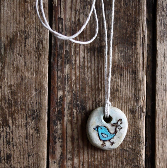 bird pendant - aqua blue with natural hemp cord necklace , polymer clay charm, boho jewelry