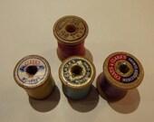 RESERVED  Vintage Wooden Spool Cabinet Knob / Drawer Pull--set of 7