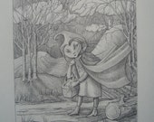 Dark Ridinghood Original 5 x 7 Drawing and Matching Giclee ACEO Card