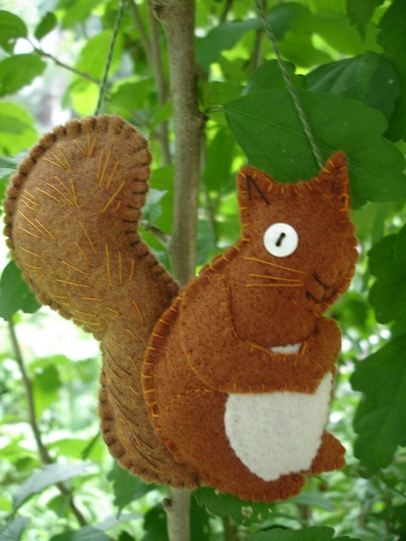 Hand-Stitched Fall or Christmas Squirrel Ornament - Free Shipping