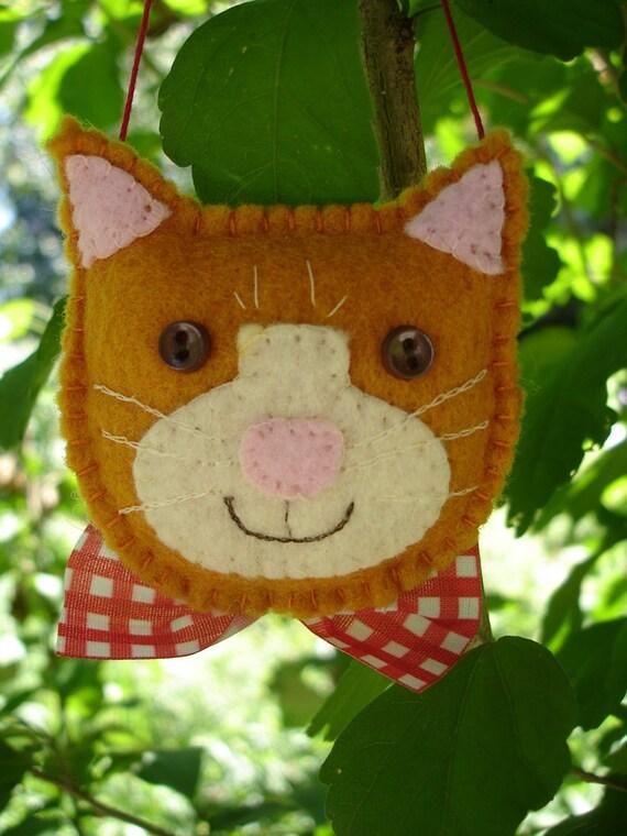 Made-to-Order, Hand-Stitched, Felt  Ginger Cat Christmas Ornament - Folk Art