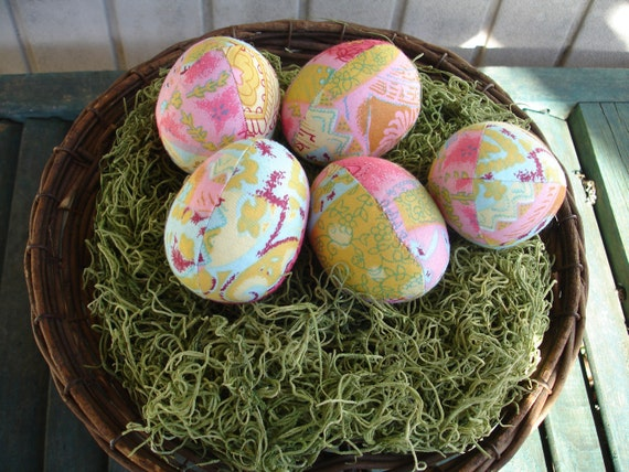 Set of 5 Cloth Easter Eggs in Soft, Pastel, Batik-Look Fabric -Great Spring Colors