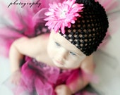 SALE White waffle beanie hat and daisy hair clip (you pick flower color)