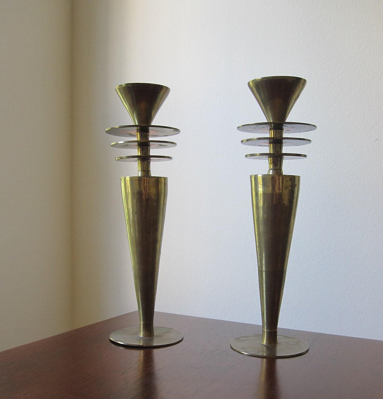 Vintage Art Deco Brass Candle Holders Mid Century Modern
