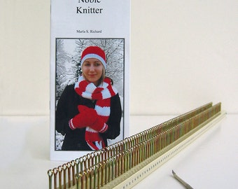 Noble Knitter 100 knitting board with hook, instructions, and patterns