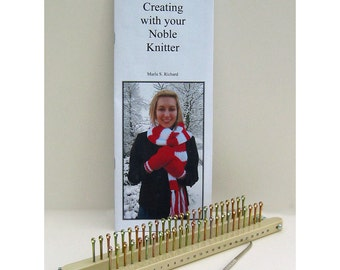 Knitting Board, Loom, Noble Knitter 25 knitting board with hook, instructions, and patterns and 25 pegs per side