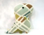 Rex Grid, stuffed dinosaur, tyrannosaurus rex, ivory, green, blue, tan, brown, plush stuffed animal Muser