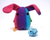 Eggbunny Purple Rainbow, rabbit plush bunny, striped blue, purple, pink, green, stuffed animal Muser