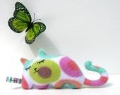 Sleepy Kitty Colors, cat plush stuffed animal Muser gift Spring