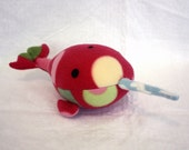 Narwhal Pink, stuffed narwhal plush, spotted dark pink, green, yellow, white, blue stuffed animal Muser