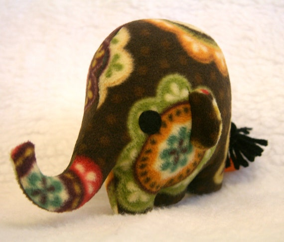 Moroccan Ellie Mini, plush stuffed elephant, fleece stuffed animal, brown green yellow orange, spotted Muser Christmas
