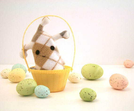 Alien 2 Tiny Argyle, plush creature in tan, gray, white stuffed animal Muser Easter Basket Gift