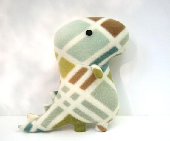 Rex Grid, stuffed dinosaur, tyrannosaurus rex, ivory, green, blue, tan, brown, plush stuffed animal Muser