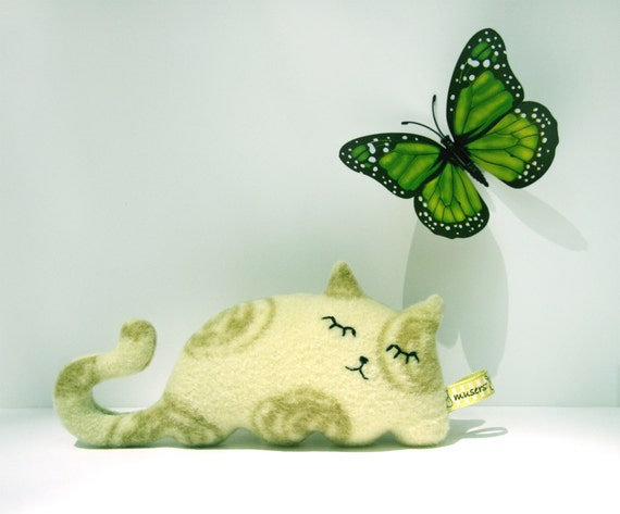 Sleepy Kitty Green cat plush stuffed animal Muser swirls gift