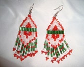 3 inch Comanche style Native American brick stitch earrings